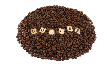 Coffee Beans with Scrabble Letter Isolated on White Background