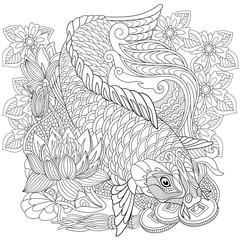 Zentangle stylized cartoon koi carp, isolated on white background. Hand drawn sketch for adult antistress coloring page, T-shirt emblem, logo or tattoo with doodle, zentangle, floral design elements.