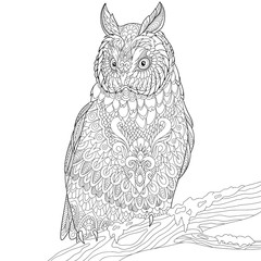 Zentangle stylized cartoon eagle owl, isolated on white background. Hand drawn sketch for adult antistress coloring page, T-shirt emblem, logo or tattoo with doodle, zentangle, floral design elements.