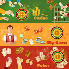 Casino and gambling banner casino games symbols chips croupier