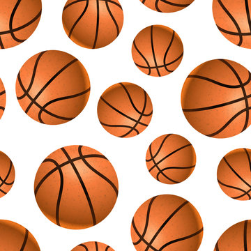 Many realistic basketball balls on white, seamless pattern