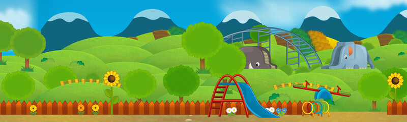 Cartoon scene of empty playground - illustration for children