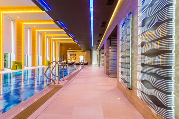 Interior luxury pool at the spa hotel