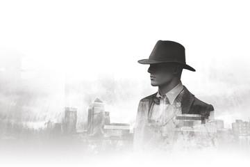 Black and white double exposure portrait urban man - fototapety na wymiar