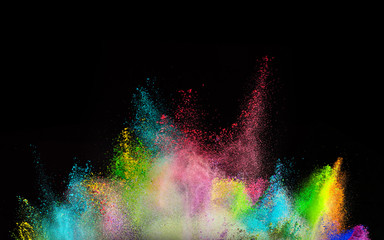 Freeze motion of colored dust explosion.
