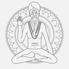 outline yoga meditating sadhu, logo asia hinduism monk, india religious man character