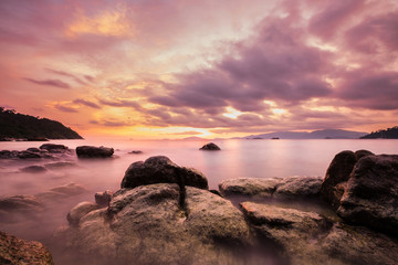 Landscape on the island, Colorful long exposure ocean, vintage tone soft focus, in sunset with amazing sky at on Lipe island in Thailand