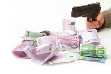 Geld, Pistole, Banküberfall