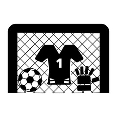 the image football goal, goalie forms, goalkeeper gloves and bal