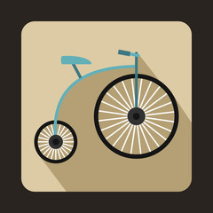 Penny-farthing icon, flat style