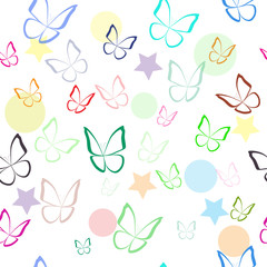 Seamless pattern with colorful hand drawn outline butterflies. Spring summer background. Vector illustration