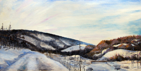 Oil painting. The snowy mountains at sunset