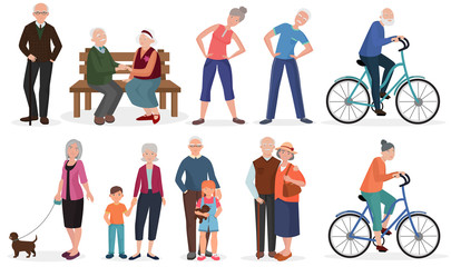 Old people in different activities situations collectoion. Grandparents couples set.