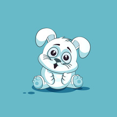 isolated Emoji character cartoon White leveret surprised with big eyes sticker emoticon