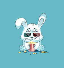 Illustration Emoji character cartoon White leveret chewing popcorn, watching movie in 3D glasses sticker emoticon