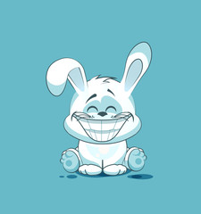 isolated Emoji character cartoon White leveret with a huge smile from ear, sticker emoticon