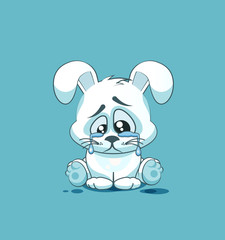 isolated Emoji character cartoon sad and frustrated White leveret crying, tears sticker emoticon