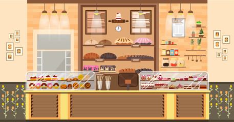 interior of bake shop, bake sale, business of baking sales, bakery and baking for production of bakery