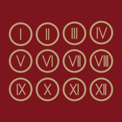 Set Roman numerals 1-12 icon