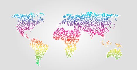 World map vector illustration in dots style
