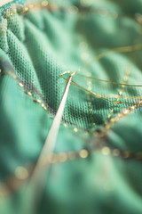 Gold-Threaded Needle Stitching Green Cloth