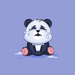 Illustration isolated Emoji character cartoon Panda crying, lot of tears sticker emoticon