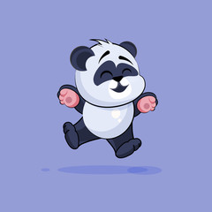 Illustration isolated Emoji character cartoon Panda jumping for joy, happy sticker emoticon