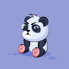 Illustration isolated Emoji character cartoon Panda squints and looks suspiciously sticker emoticon