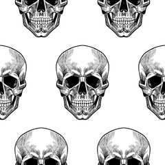 Skull on a white background. Vector seamless pattern