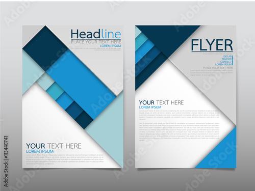 blue square business technology annual report brochure flyer design template vector leaflet. Black Bedroom Furniture Sets. Home Design Ideas