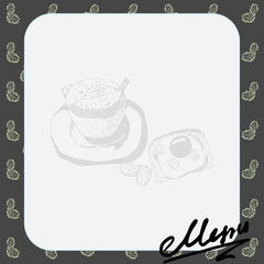 Vector menu layout for the cafe with a picture of a cup of coffee and toast with scrambled eggs, text, background and leaves in shades of gray.