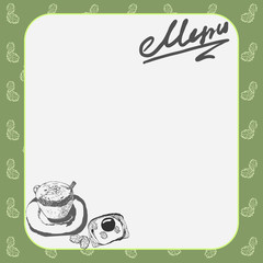 Vector menu layout for the cafe with a picture of a cup of coffee and toast with scrambled eggs, text, background and leaves.
