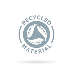 Recycled product material icon. Recycled materials sign with circular leaves symbol. Vector illustration.