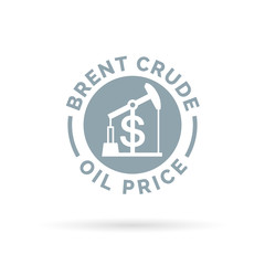 Price of brent crude oil icon with oil pump symbol and dollar sign. Petrol/gas trade cost. Vector illustration.