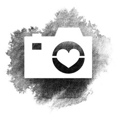 Silhouette white camera on a black and white watercolor background illustration