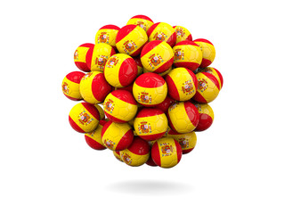 Pile of footballs with flag of spain