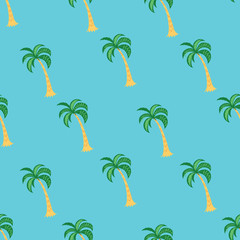 Tropical palm tree seamless pattern on the blue background. Vector illustration.