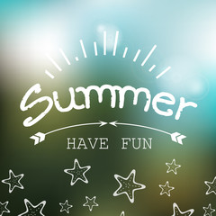 Summer - Have Fun - White Lettering - Isolated On Background - Vector Illustration, Graphic Design. Summer Day Concept