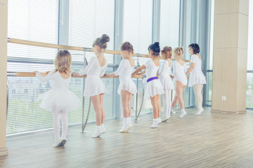 Group of seven little ballerinas standing in row and practicing ballet using stick on the wall