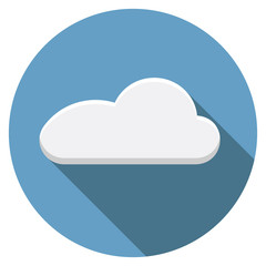 Flat design vector cloud icon with long shadow, isolated