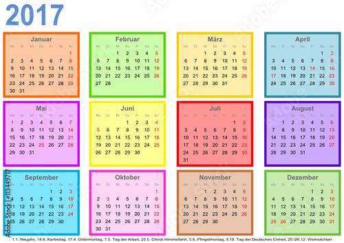 kalender 2017 jeder monat in einem andersfarbigen quadrat und mit feiertagen f r deutschland. Black Bedroom Furniture Sets. Home Design Ideas