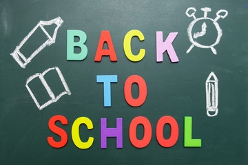 Colorful Back To School wording with some hand drawing images