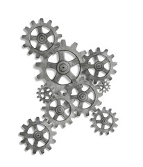 Silver cog cogs on white background with shadow