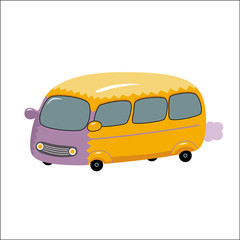 A vector illustration of the toy yellow bus. A part of Dodo collection - a set of educational cards for children.