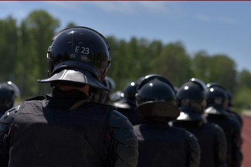 Fighters of the special police units armed with special facilities