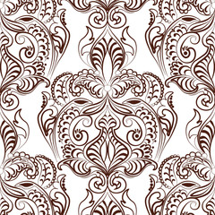 Vector floral lace pattern in Oriental style. Ornamental lace pattern for wedding invitations, greeting cards, wallpaper, backgrounds, fabrics, textile. Traditional decor. Russet color