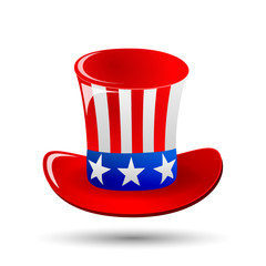 Patriotic Uncle Sam hat for 4th of July public holiday card greetings in vector format. Cartoon or doodle style. isolated on white background. American stars and stripes.