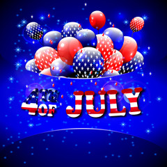 Happy 4th of July design. Blue background, baloons with stars, striped text. American independence day greetings. For invintation, party, bbq. vector