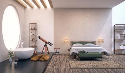 Modern design of bedroom (3d Render)