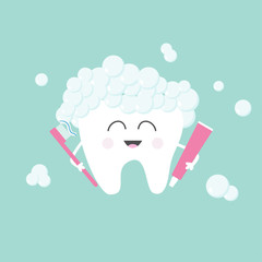 Tooth holding toothpaste and toothbrush. Bubbles foam. Cute funny cartoon smiling character. Children teeth care icon. Oral dental hygiene. Tooth health. Baby background. Flat design.